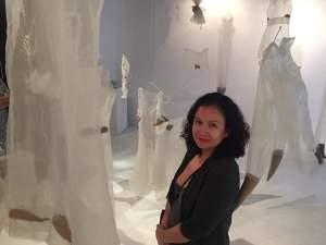"With my installation, ""Peel."" Photo by Tiffany Urrutia"